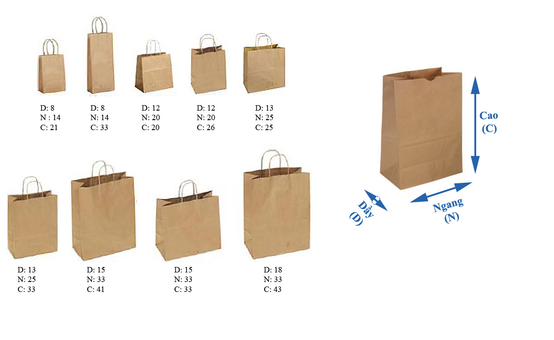 mẫu kích thước túi giấy