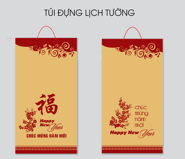 Mẫu in túi giấy kraft đựng lịch Tết, quà Tết