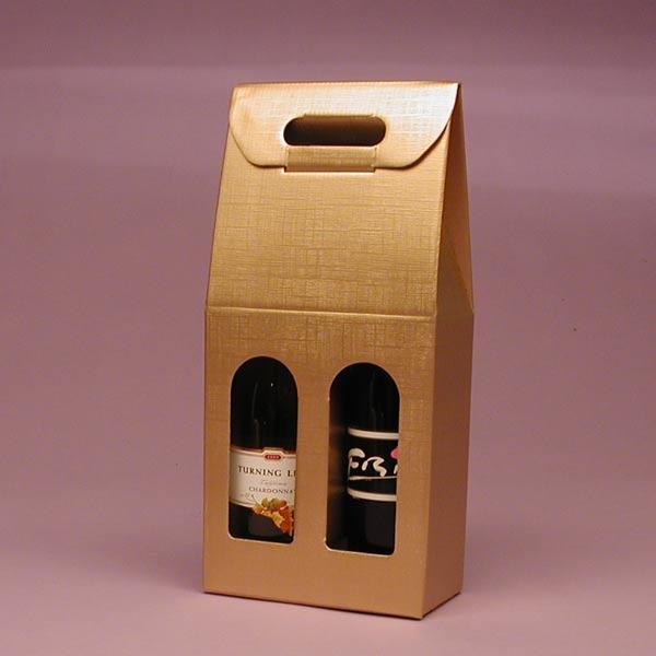 Hộp giấy đựng hai chai rượu vang đơn giản